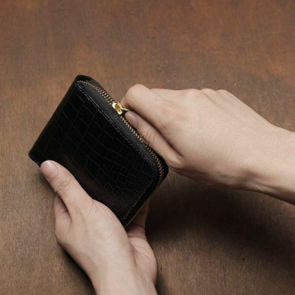 レザーブランドS'FACTORY「スリムファスナー ショート ウォレット クロコダイル(ワニ革)」商品画像