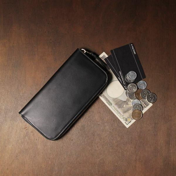 レザーブランドS'FACTORY「スリムファスナー ロング ウォレット 栃木レザー ブラック(牛革)」商品画像