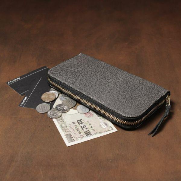レザーブランドS'FACTORY「スリムファスナー ロング ウォレット シャーク グレー」商品画像
