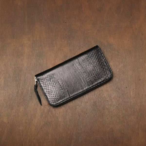 レザーブランドS'FACTORY「スリムファスナー ロング ウォレット ブラックパイソン(ヘビ革)」商品画像